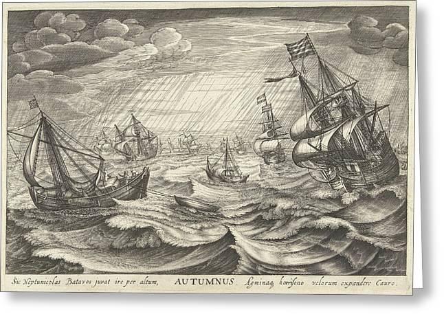 Autumn, Robert De Baudous Greeting Card by Robert De Baudous And Cornelis Claesz. Van Wieringen And Johannes Janssonius