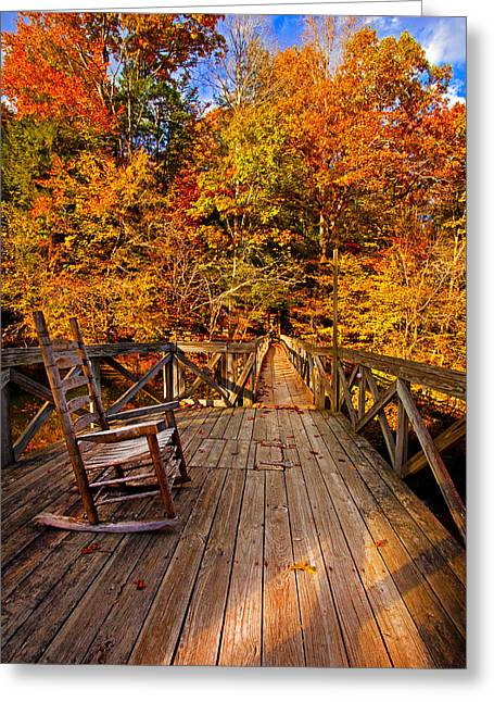 Autumn Rocking On Wooden Bridge Landscape Print Greeting Card