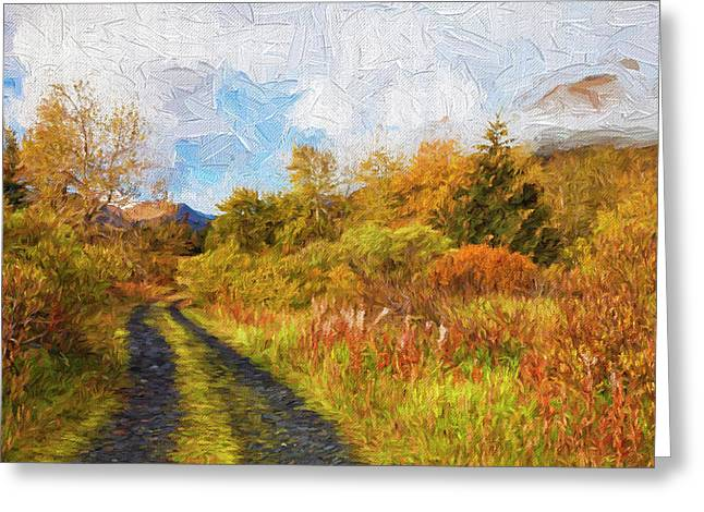 Autumn Scenic Oil Painting Greeting Card by Marion Owen