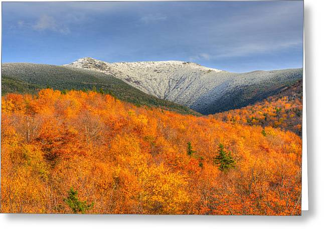 Autumn Snow On Mount Lafayette Greeting Card