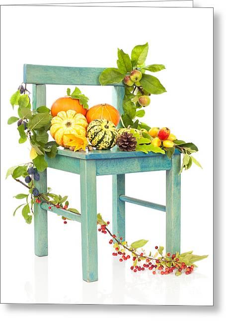Autumn Still Life Chair Greeting Card