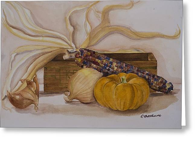 Greeting Card featuring the painting Autumn Still Life by Rebecca Matthews
