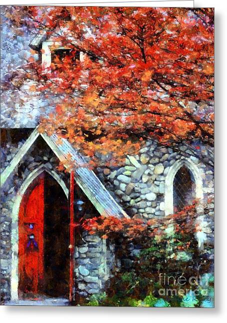 Autumn Stone Church Greeting Card by Janine Riley