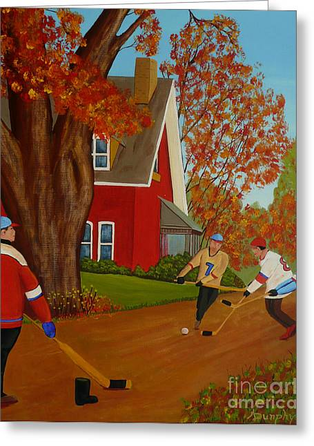 Autumn Street Hockey Greeting Card by Anthony Dunphy