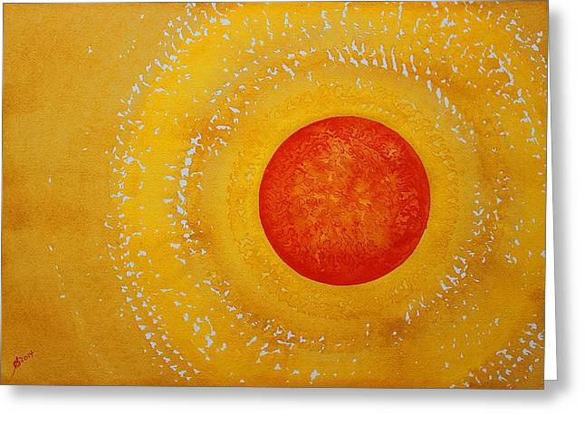 Autumn Sun Original Painting Greeting Card by Sol Luckman