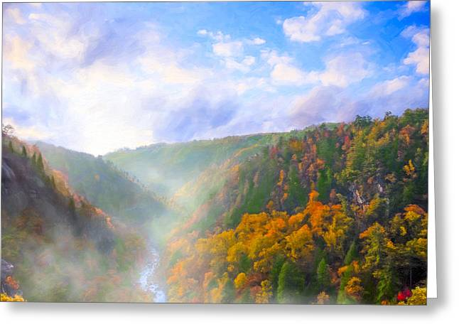 Autumn Sunrise In Tallulah Gorge Greeting Card by Mark E Tisdale