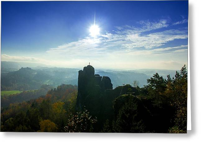 Autumn Sunrise In The Elbe Sandstone Mountains Greeting Card