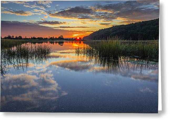 Autumn Sunrise Greeting Card by Mike Lang