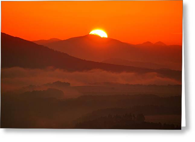 Autumn Sunrise On The Lilienstein Greeting Card