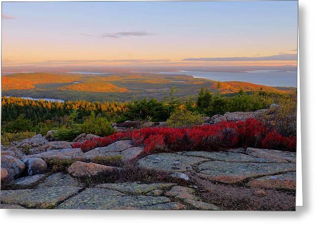 Cadillac Mountain Autumn Sunrise Greeting Card by Stephen  Vecchiotti