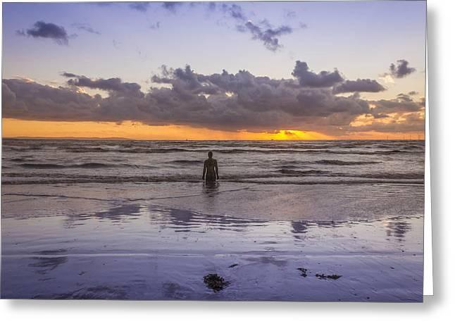 Autumn Sunset At Crosby Beach Greeting Card