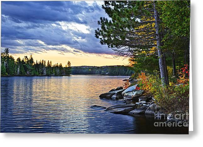 Autumn Sunset At Lake Greeting Card