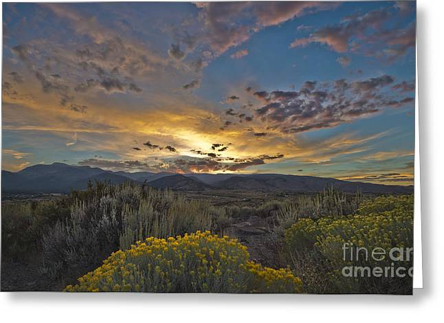 Autumn Sunset Greeting Card by Dianne Phelps