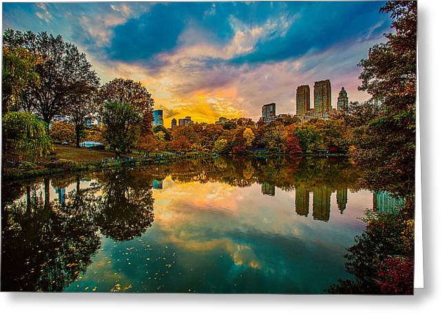 Autumn Sunset From Bow Bridge Greeting Card