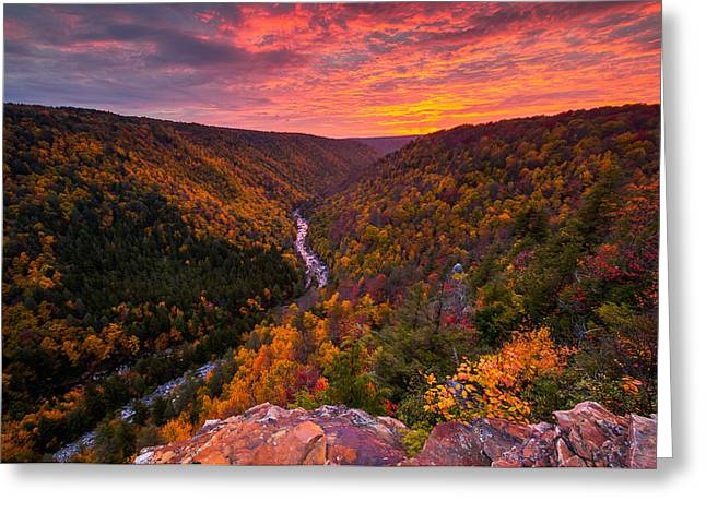 Autumn Sunset From Pendleton Point Greeting Card by Joseph Rossbach