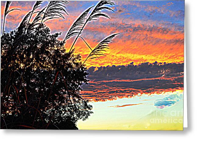 Autumn Sunset Greeting Card by Luther Fine Art