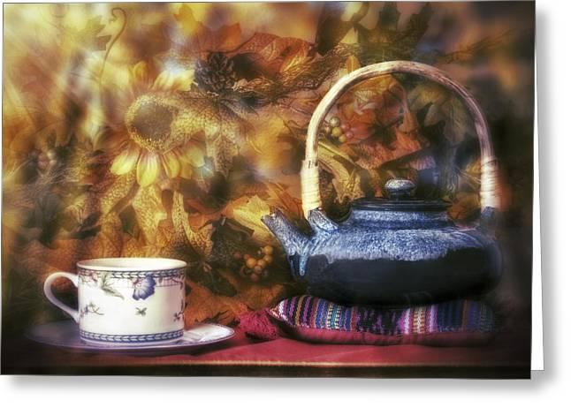 Autumn Tea Party - Fall - Teapot Greeting Card by Jason Politte