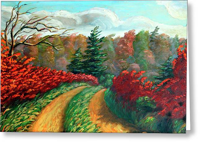 Autumn Trail Greeting Card by Hanne Lore Koehler