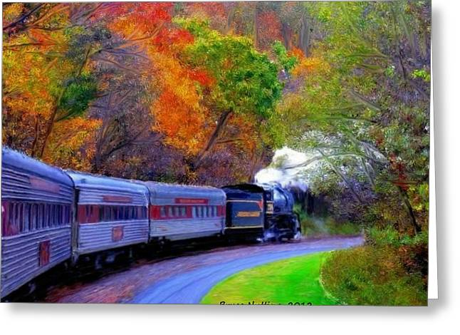 Greeting Card featuring the painting Autumn Train by Bruce Nutting