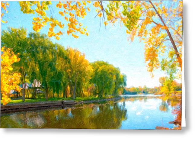 Autumn Tree And River  Greeting Card by Lanjee Chee