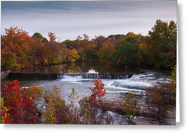 Greeting Card featuring the photograph Refreshing Waterfalls Autumn Trees On The Stones River Tennessee by Jerry Cowart