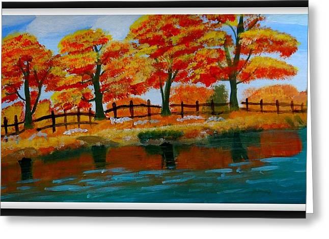Autumn Trees Greeting Card by Vijai Coimbatore natarajan