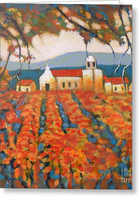 Autumn Vineyard Greeting Card by Kip Decker