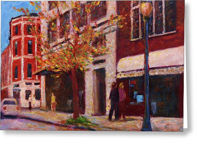Autumn Walk Downtown Greeting Card by Vernon Reinike