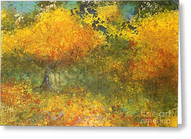 Autumn Walk Greeting Card by Gwen Nichols
