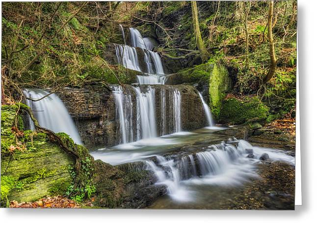 Autumn Waterfall Greeting Card by Ian Mitchell