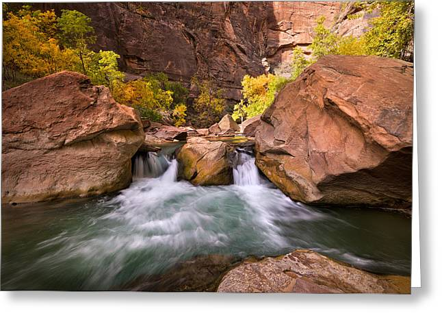 Autumn Waterfall In Zion Greeting Card