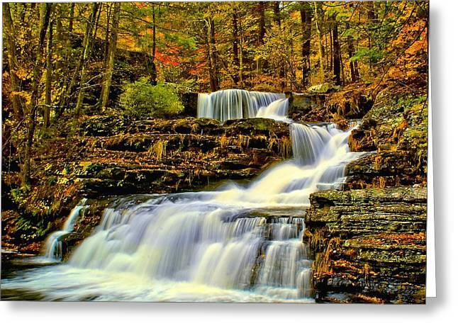 Autumn By The Waterfall Greeting Card