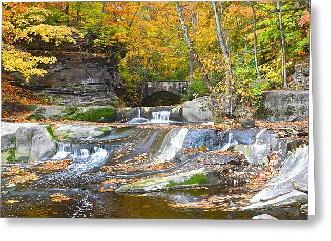 Autumn Waterfall Greeting Card by Frozen in Time Fine Art Photography