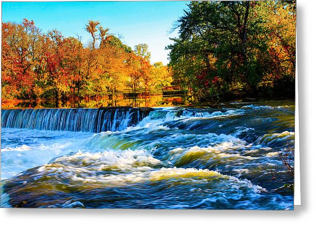 Amazing Autumn Flowing Waterfalls On The River  Greeting Card