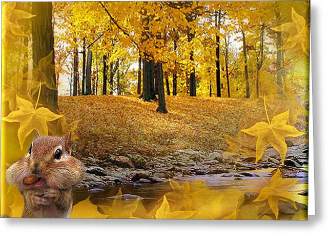 Greeting Card featuring the digital art Autumn With A Squirrel - Autumn Art By Giada Rossi by Giada Rossi