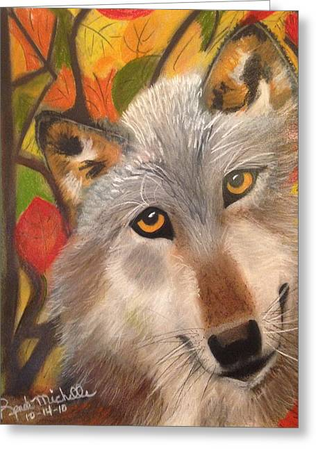 Autumn Wolf Greeting Card by Renee Michelle Wenker