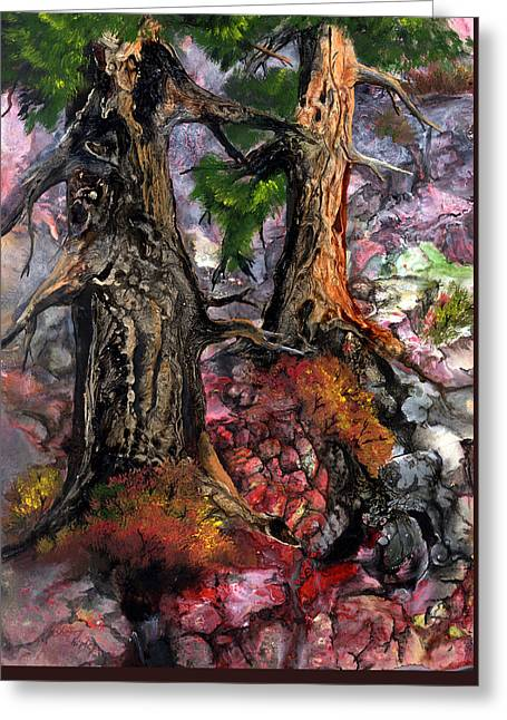 Greeting Card featuring the painting Autumn Woods by Sherry Shipley
