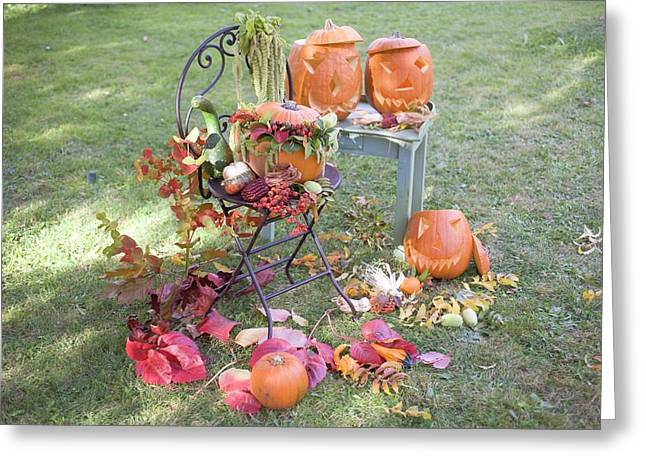 Autumnal Garden Decoration With Pumpkins, Flowers And Leaves Greeting Card