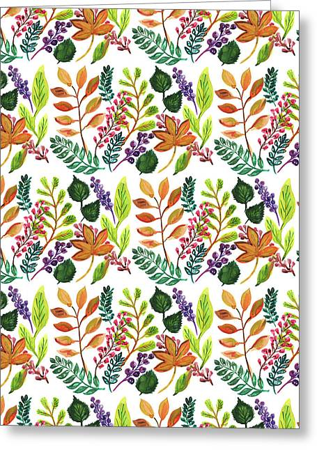 Autumnal Print Multi Leaves And Berries Mixed.jpg Greeting Card