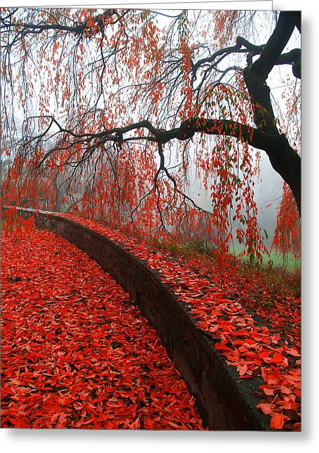 Greeting Card featuring the digital art Autumnal Red by Bruce Rolff