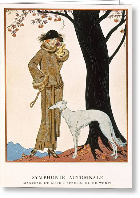 Autumnal Symphony Afternoon Coat And Dress By Worth Greeting Card by Georges Barbier