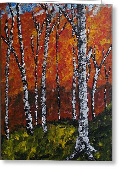 Greeting Card featuring the painting Autumnforest by Zeke Nord