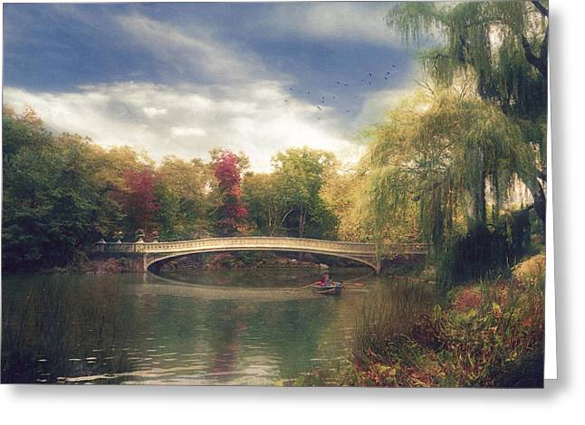 Autumn's Afternoon In Central Park Greeting Card by John Rivera