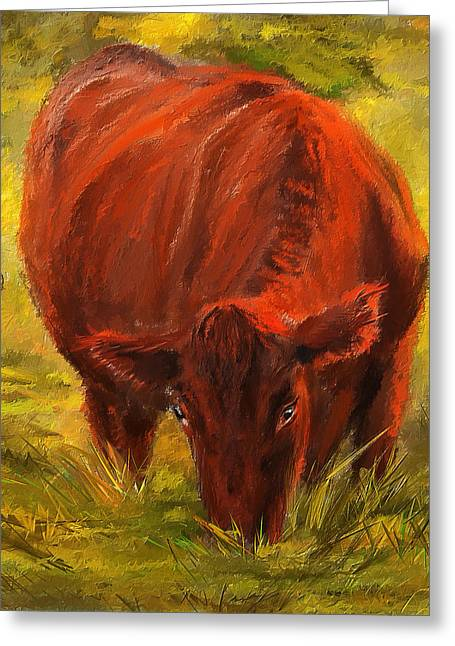 Autumn's Afternoon - Cow Painting Greeting Card by Lourry Legarde