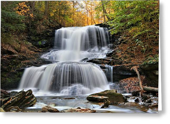 Autumn's Magical Spell On Tuscarora Falls Greeting Card by Gene Walls