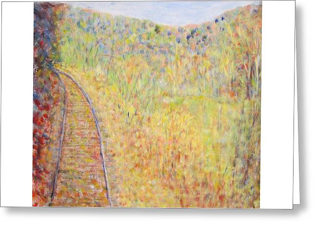 Autumns Maple Leaves And Train Tracks Greeting Card