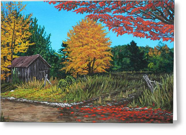 Autumns Rustic Path Greeting Card by Wendy Shoults