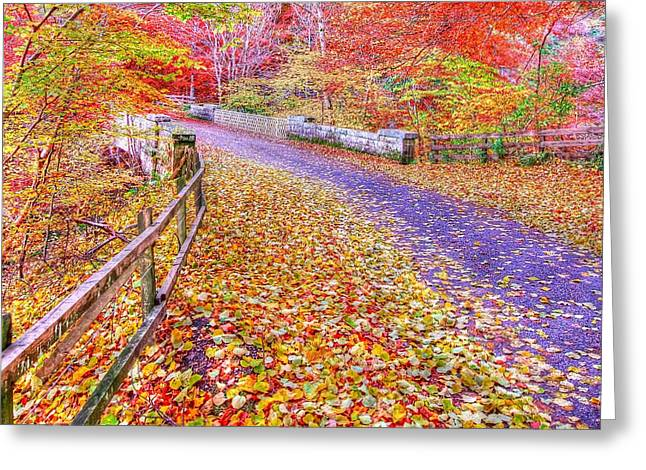 Autumns Way Rouge Greeting Card by John Kelly