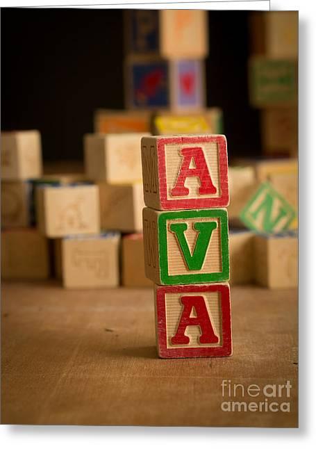Ava - Alphabet Blocks Greeting Card by Edward Fielding