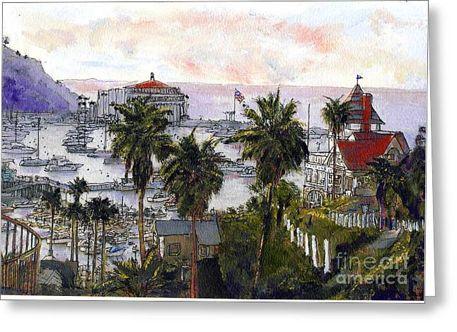 Avalon Harbor Early Morning Greeting Card